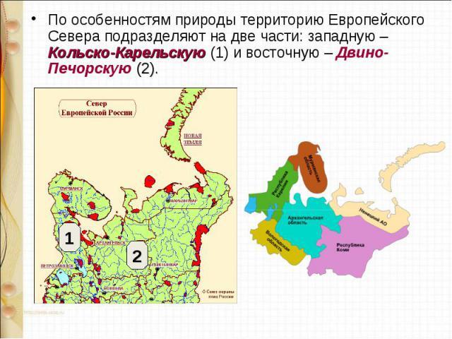 По особенностям природы территорию Европейского Севера подразделяют на две части: западную – Кольско-Карельскую (1) и восточную – Двино-Печорскую (2). По особенностям природы территорию Европейского Севера подразделяют на две части: западную – Кольс…