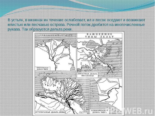 В устьях, в низинах их течение ослабевает, ил и песок оседают и возникают илистые или песчаные острова. Речной поток дробится на многочисленные рукава. Так образуется дельта реки.