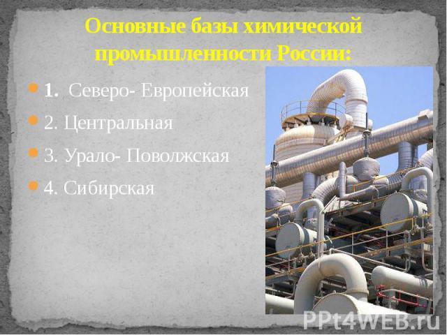 Основные базы химической промышленности России: 1. Северо- Европейская 2. Центральная 3. Урало- Поволжская 4. Сибирская