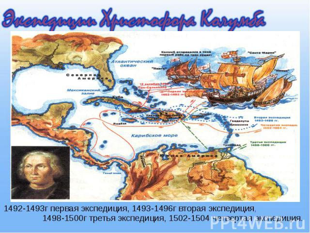 1492-1493г первая экспедиция, 1493-1496г вторая экспедиция, 1498-1500г третья экспедиция, 1502-1504 четвертая экспедиция. 1492-1493г первая экспедиция, 1493-1496г вторая экспедиция, 1498-1500г третья экспедиция, 1502-1504 четвертая экспедиция.