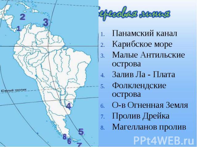 Панамский канал Панамский канал Карибское море Малые Антильские острова Залив Ла - Плата Фолклендские острова О-в Огненная Земля Пролив Дрейка Магелланов пролив