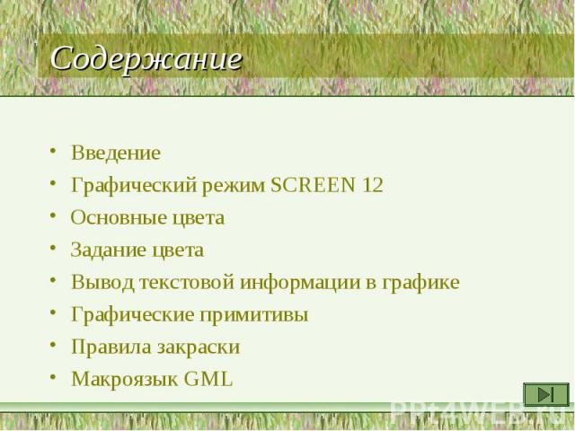 Введение Введение Графический режим SCREEN 12 Основные цвета Задание цвета Вывод текстовой информации в графике Графические примитивы Правила закраски Макроязык GML