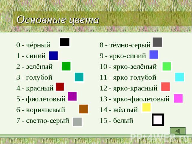 0 - чёрный 0 - чёрный 1 - синий 2 - зелёный 3 - голубой 4 - красный 5 - фиолетовый 6 - коричневый 7 - светло-серый