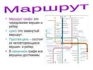 Маршрут графа- это чередование вершин и ребер Маршрут графа- это чередование вер
