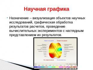 Научная графика Назначение – визуализация объектов научных исследований, графиче