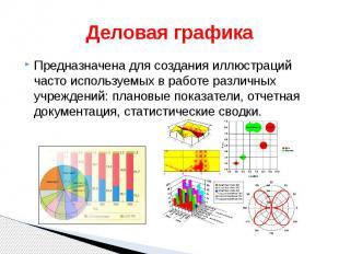 Деловая графика Предназначена для создания иллюстраций часто используемых в рабо