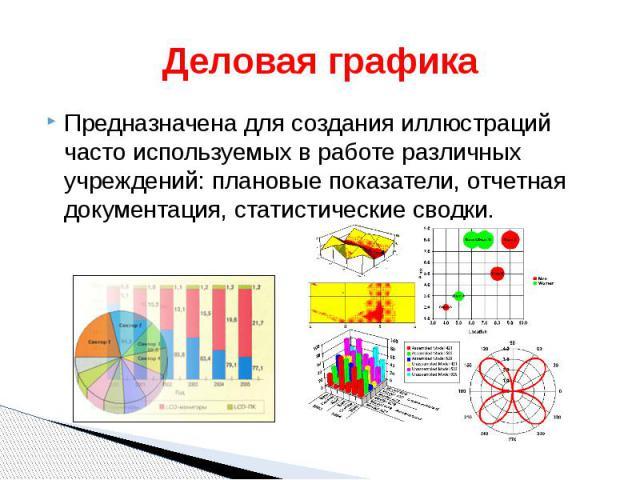 Деловая графика Предназначена для создания иллюстраций часто используемых в работе различных учреждений: плановые показатели, отчетная документация, статистические сводки.