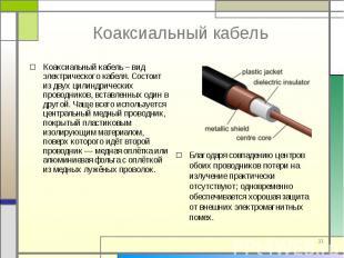 Коаксиальный кабель – вид электрического кабеля. Состоит из двух цилиндрических