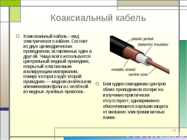 Коаксиальный кабель – вид электрического кабеля. Состоит из двух цилиндрических проводников, вставленных один в другой. Чаще всего используется центральный медный проводник, покрытый пластиковым изолирующим материалом, поверх которого идёт второй пр…