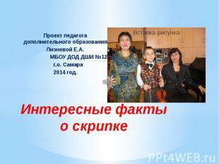 Интересные факты о скрипке Проект педагога дополнительного образования Лизневой