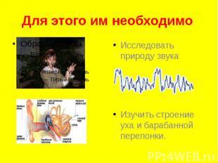Для этого им необходимо Исследовать природу звука Изучить строение уха и барабан