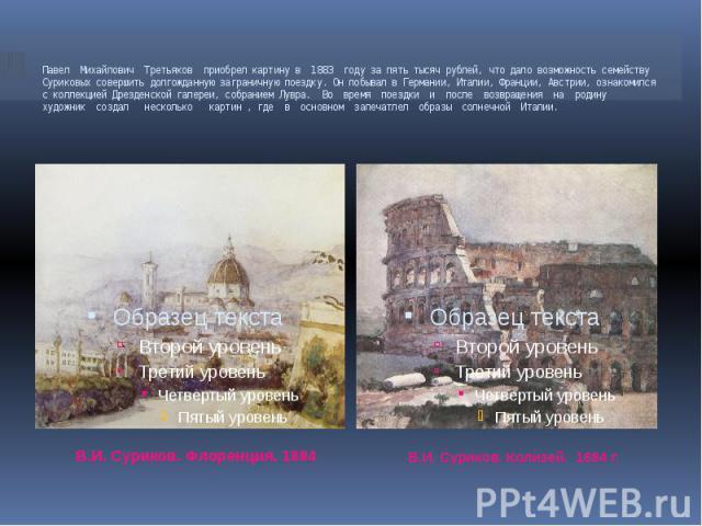 Павел Михайлович Третьяков приобрел картину в 1883 году за пять тысяч рублей, что дало возможность семейству Суриковых совершить долгожданную заграничную поездку. Он побывал в Германии, Италии, Франции, Австрии, ознакомился с коллекцией Дрезденской …