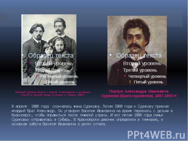 8 апреля 1888 года скончалась жена Сурикова. Летом 1888 года к Сурикову приехал младший брат Александр. Он уговорил Василия Ивановича на время переехать с детьми в Красноярск, чтобы оправиться после тяжелой утраты. И вот летом 1888 года семья Сурико…