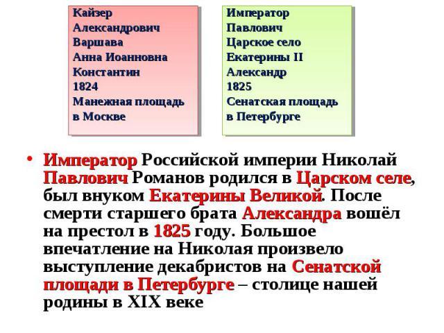 Император Российской империи Николай Павлович Романов родился в Царском селе, был внуком Екатерины Великой. После смерти старшего брата Александра вошёл на престол в 1825 году. Большое впечатление на Николая произвело выступление декабристов на Сена…