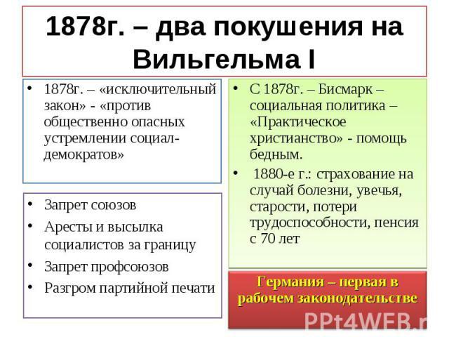 1878г. – «исключительный закон» - «против общественно опасных устремлении социал-демократов» 1878г. – «исключительный закон» - «против общественно опасных устремлении социал-демократов»
