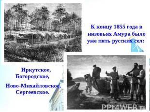 К концу 1855 года в низовьях Амура было уже пять русских сел: Иркутское, Богород