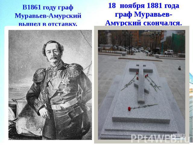 В1861 году граф Муравьев-Амурский вышел в отставку.