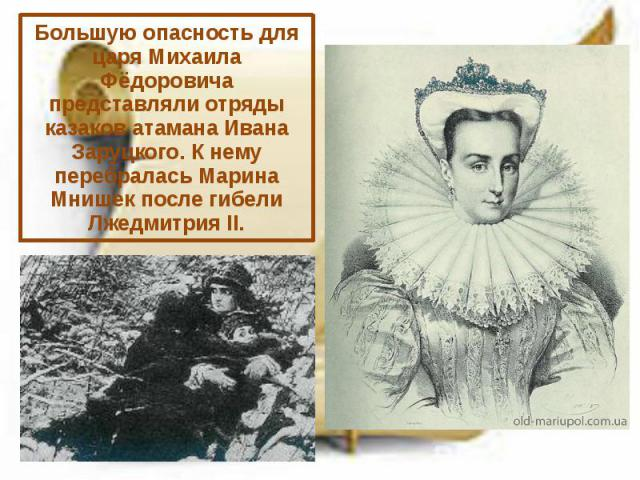 Большую опасность для царя Михаила Фёдоровича представляли отряды казаков атамана Ивана Заруцкого. К нему перебралась Марина Мнишек после гибели Лжедмитрия II.