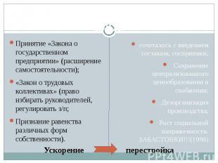 Принятие «Закона о государственном предприятии» (расширение самостоятельности);