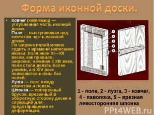 Ковчег (ковчежец) — углубленная часть иконной доски. Поле — выступающая над ковч
