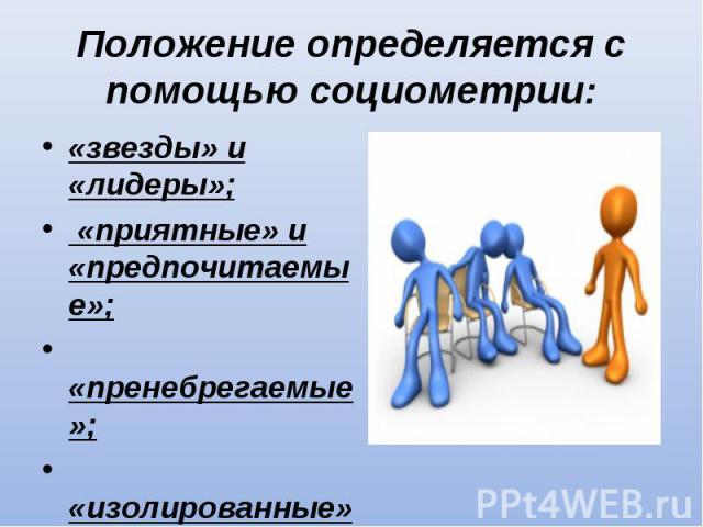 «звезды» и «лидеры»; «звезды» и «лидеры»; «приятные» и «предпочитаемые»; «пренебрегаемые»; «изолированные»; «отверженные».