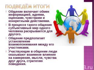 Общение включает обмен информацией, идеями, оценками, чувствами и конкретными де