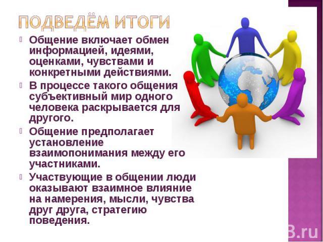 Общение включает обмен информацией, идеями, оценками, чувствами и конкретными действиями. Общение включает обмен информацией, идеями, оценками, чувствами и конкретными действиями. В процессе такого общения субъективный мир одного человека раскрывает…
