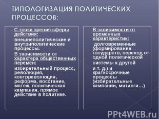 С точки зрения сферы действия: С точки зрения сферы действия: внешнеполитические