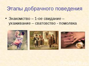 Знакомство – 1-ое свидание – ухаживание – сватовство - помолвка Знакомство – 1-о
