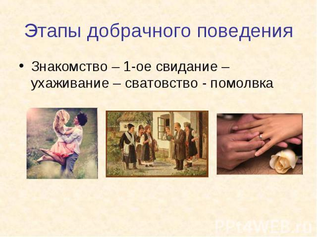 Знакомство – 1-ое свидание – ухаживание – сватовство - помолвка Знакомство – 1-ое свидание – ухаживание – сватовство - помолвка