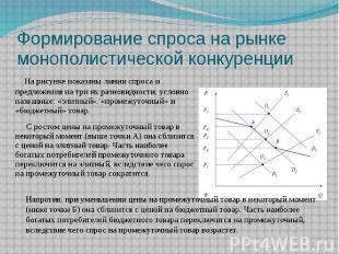 Формирование спроса на рынке монополистической конкуренции На рисунке показаны л
