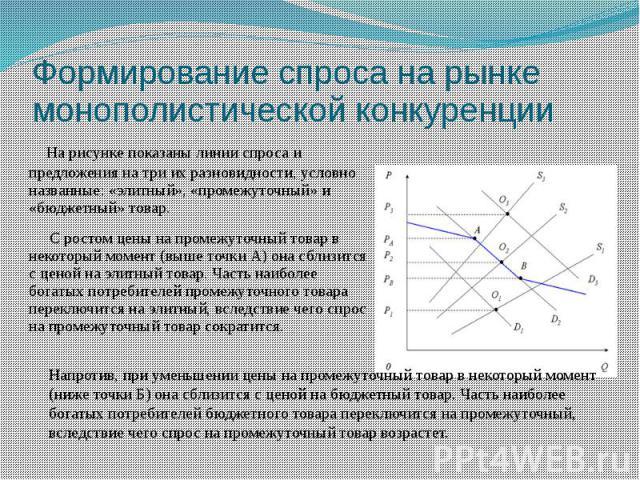 Формирование спроса на рынке монополистической конкуренции На рисунке показаны линии спроса и предложения на три их разновидности, условно названные: «элитный», «промежуточный» и «бюджетный» товар. С ростом цены на промежуточный товар в некоторый мо…