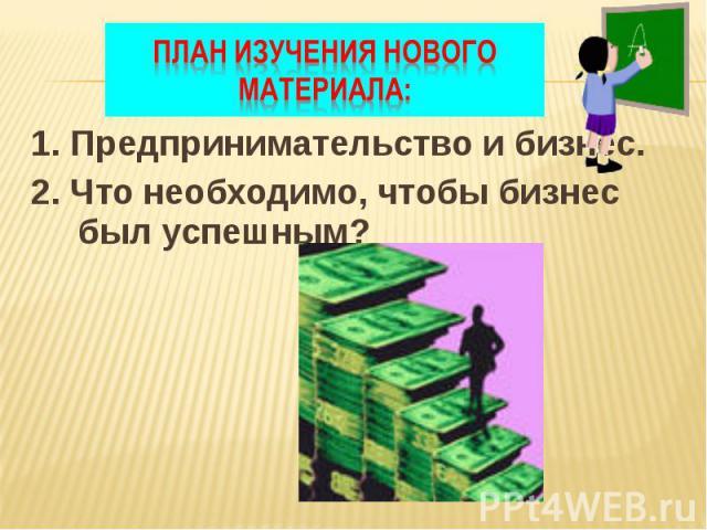 1. Предпринимательство и бизнес. 1. Предпринимательство и бизнес. 2. Что необходимо, чтобы бизнес был успешным?