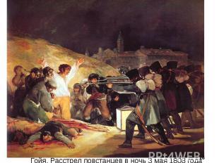 Гойя, Расстрел повстанцев в ночь 3 мая 1808 года