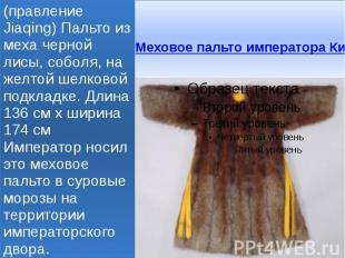 Меховое пальто императора Китая 1796-1820 годы (правление Jiaqing) Пальто из мех
