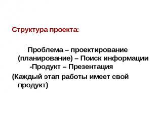 Структура проекта: Структура проекта: Проблема – проектирование (планирование) –