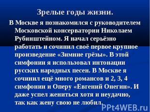 В Москве я познакомился с руководителем Московской консерватории Николаем Рубинш