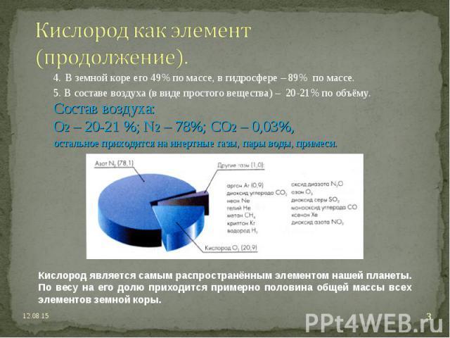 4. В земной коре его 49% по массе, в гидросфере – 89% по массе. 4. В земной коре его 49% по массе, в гидросфере – 89% по массе. 5. В составе воздуха (в виде простого вещества) – 20-21% по объёму. Состав воздуха: О2 – 20-21 %; N2 – 78%; CO2 – 0,03%, …