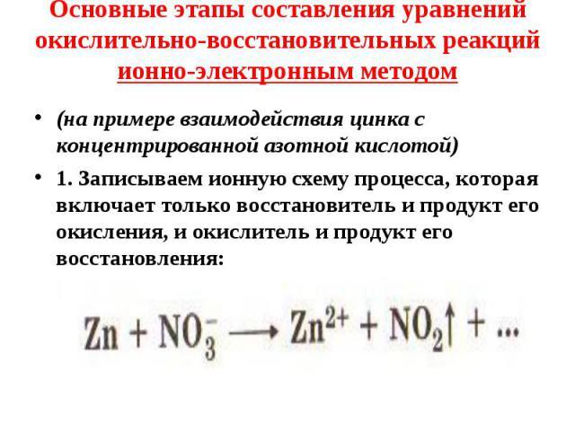 (на примере взаимодействия цинка с концентрированной азотной кислотой) (на примере взаимодействия цинка с концентрированной азотной кислотой) 1. Записываем ионную схему процесса, которая включает только восстановитель и продукт его окисления, и окис…