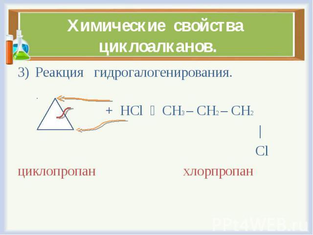 Реакция гидрогалогенирования. Реакция гидрогалогенирования. + HCl CH3 – CH2 – CH2 | Cl циклопропан хлорпропан