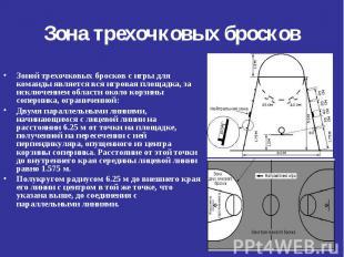 Зоной трехочковых бросков с игры для команды является вся игровая площадка, за и