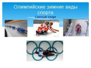 Олимпийские зимние виды спорта Санный спорт