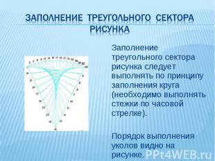 Заполнение треугольного сектора рисунка следует выполнять по принципу заполнения
