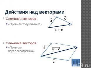 Действия над векторами Сложение векторов «Правило треугольника»