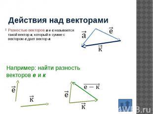 Действия над векторами Разностью векторов а и с называется такой вектор к, котор