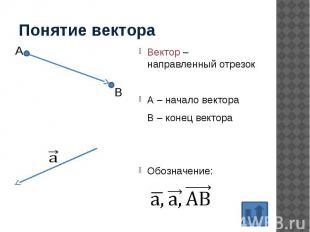 Понятие вектора Вектор – направленный отрезок А – начало вектора В – конец векто