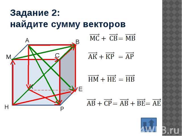 Задание 2: найдите сумму векторов