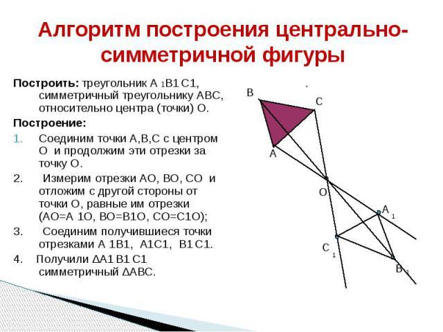 Алгоритм построения центрально-симметричной фигуры Построить: треугольник А 1В1 С1, симметричный треугольнику АВС, относительно центра (точки) О. Построение: Соединим точки А,В,С с центром О и продолжим эти отрезки за точку О. 2. Измерим отрезки АО,…