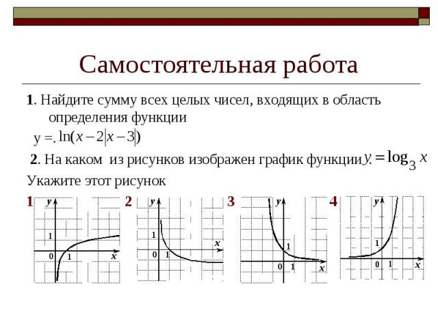 1. Найдите сумму всех целых чисел, входящих в область определения функции 1. Найдите сумму всех целых чисел, входящих в область определения функции у =. 2. На каком из рисунков изображен график функции . Укажите этот рисунок 1 2 3 4