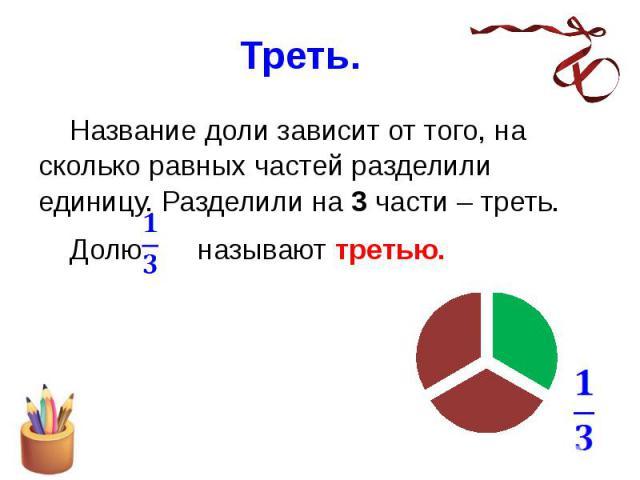 Треть. Название доли зависит от того, на сколько равных частей разделили единицу. Разделили на 3 части – треть. Долю называют третью.